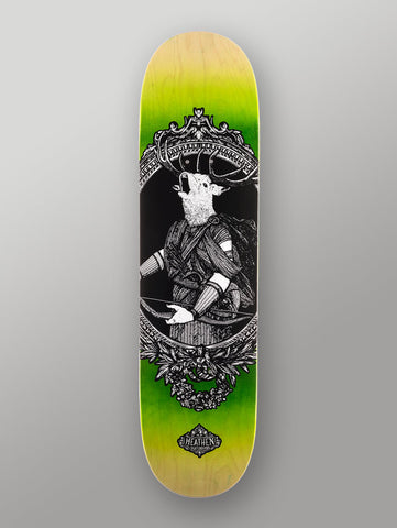 "Heathen 'Hearn The Hunter' Deck. Green. 8.25""."