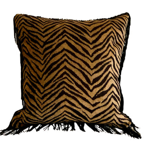 Zebra Print, Black Fringed with  Sequin Serpent Cushion