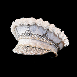 WHITE WEDDING CAPTAINS HAT