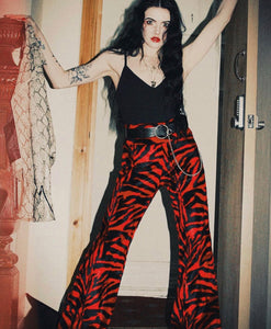WE ARE CHAOS Red Tiger Flared Trousers (Unisex)