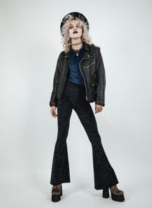 MIDNIGHT RIDER Black or Blue Crushed Velvet Unisex Flares
