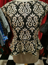 Load image into Gallery viewer, Vintage 1950s Black & Gold Embellished Brocade Peplum Cap Sleeve Blouse