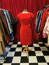 Load image into Gallery viewer, Vintage Early 1960s Red Soft Velvet Flower Embellished Wiggle Dress