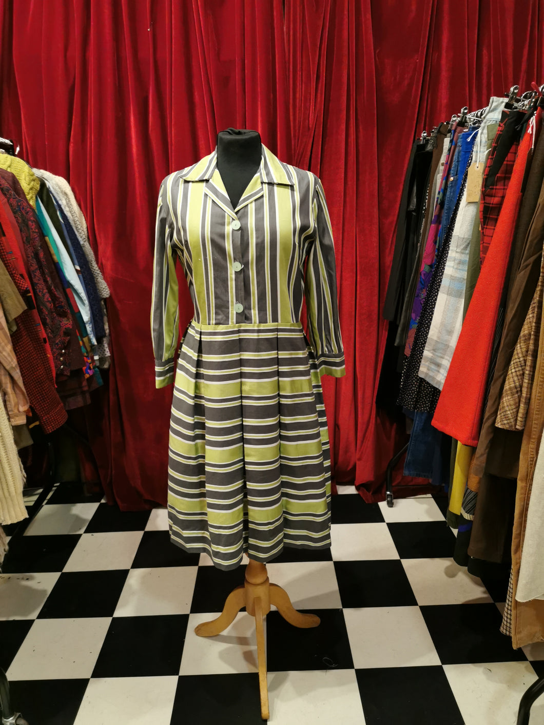 Vintage 1950s Pleated Lime Green & Grey Striped Shift Shirt Dress