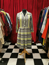Load image into Gallery viewer, Vintage 1950s Pleated Lime Green & Grey Striped Shift Shirt Dress