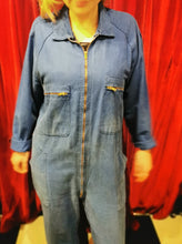 Load image into Gallery viewer, Vintage 1980s Medium Blue Soft Cotton Boiler Suit Work Wear Overalls