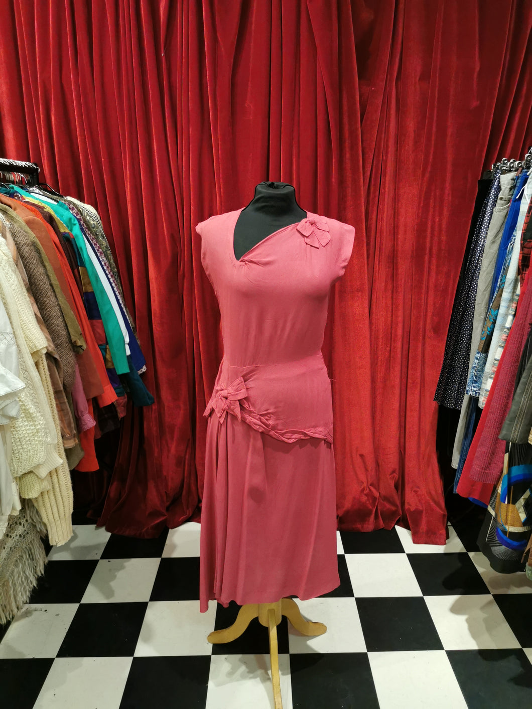 Vintage 1940s Hot Pink Silk Crepe Drop Waist Asymmetric Neckline Dress