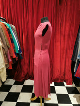 Load image into Gallery viewer, Vintage 1940s Hot Pink Silk Crepe Drop Waist Asymmetric Neckline Dress