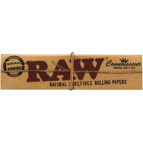 RAW Classic Connoisseur Rolling Papers King Size Slim + Tips