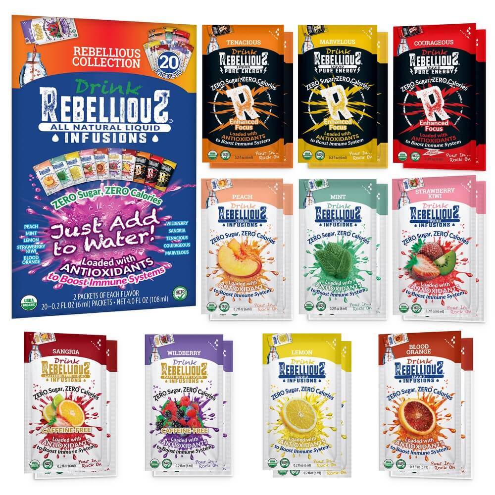 Rebellious Infusions 10-flavor (20-count) Variety Pack Certified Organic Kosher Paleo sugarfree antioxidants