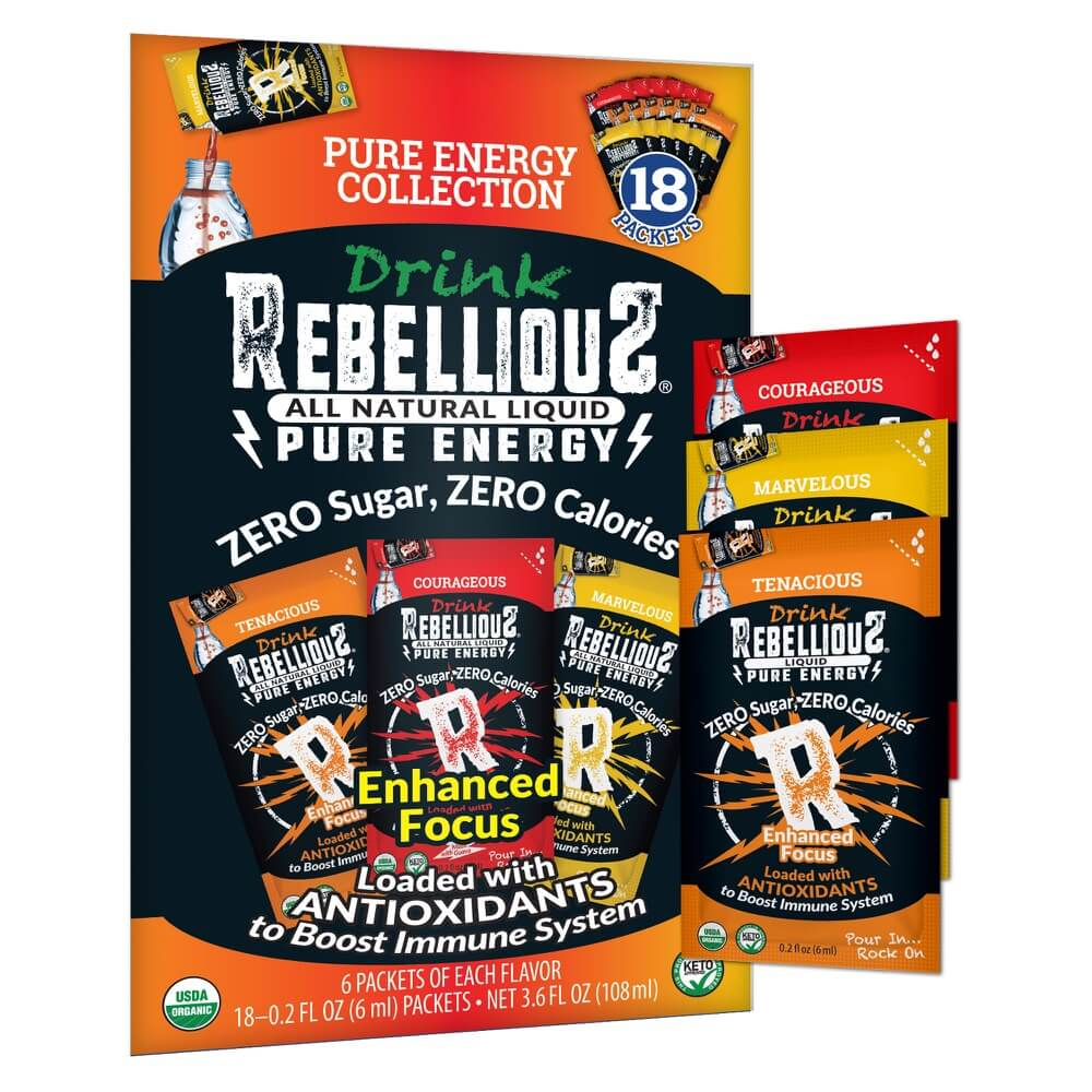 Rebellious Pure Energy 18-pack with One Liquid Packet of Each Flavor Tangerine Mango Cherry Guava Enhanced Focus Antioxidants