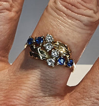 Load image into Gallery viewer, 9ct Gold Sapphire & Diamond Unusual Ring