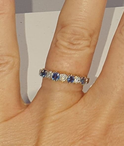18ct Gold Sapphire & Diamond Half Eternity