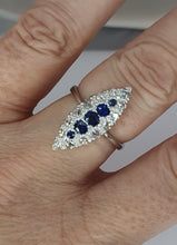 Load image into Gallery viewer, 18ct White Gold Sapphire & Diamond Marquis Cluster Ring