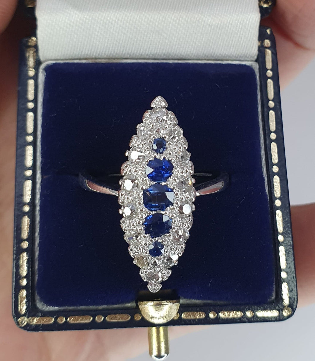 18ct White Gold Sapphire & Diamond Marquis Cluster Ring