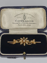 Load image into Gallery viewer, 15ct Gold Late-Victorian Seed Pearl Flower Brooch