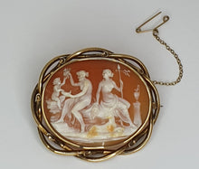 Load image into Gallery viewer, Gold Coloured Late-Victorian Cameo Brooch