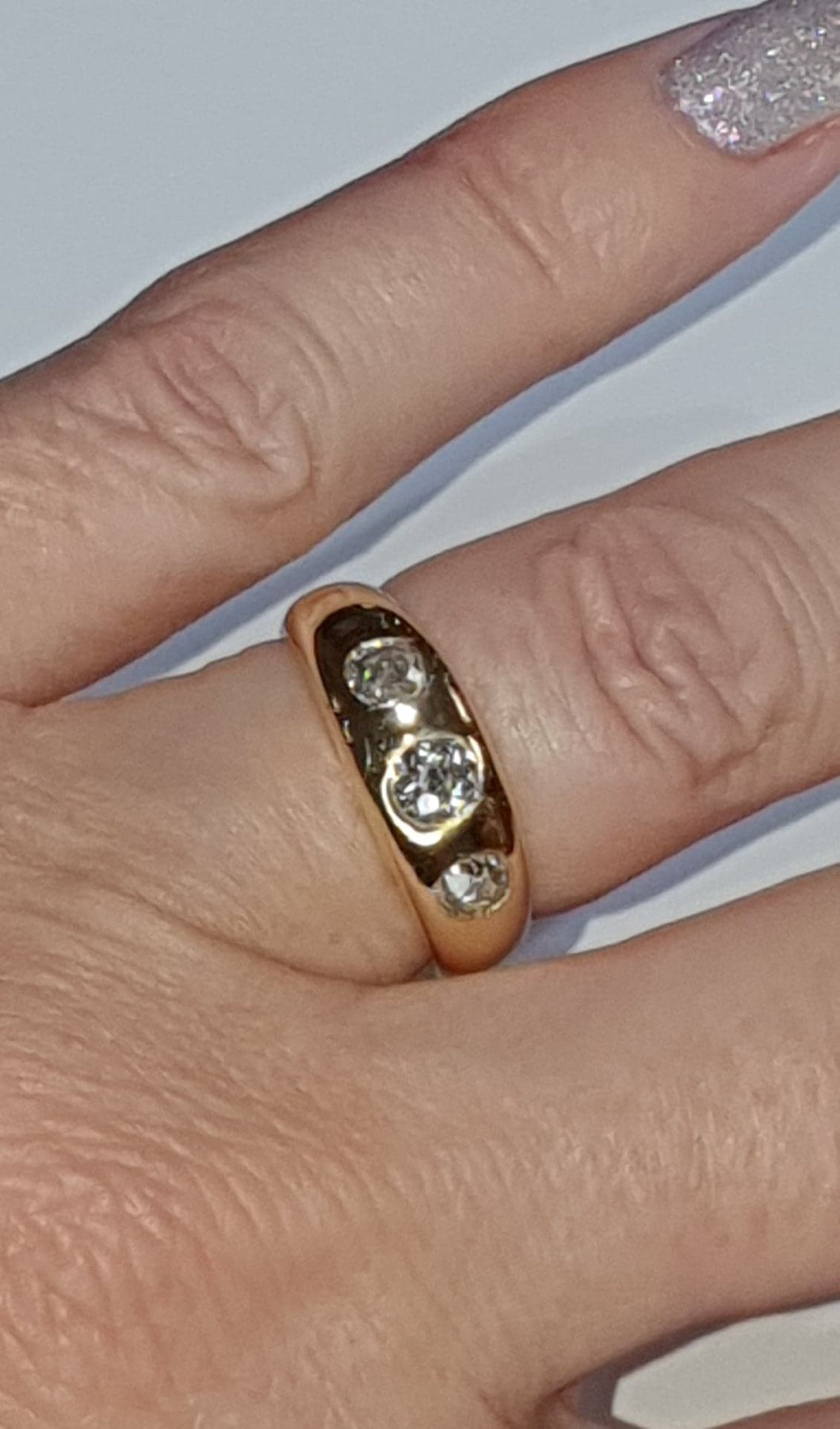 18ct Gold Edwardian Old-Cut Diamond Three Stone Ring