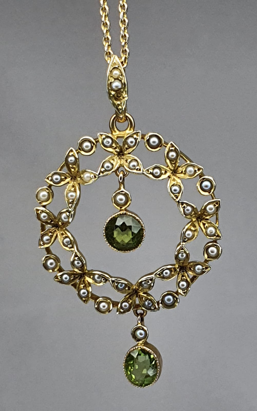 15ct Gold Victorian Peridot & Seed Pearl Pendant on 9ct Gold 18