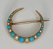 Load image into Gallery viewer, Gold Coloured Late-Victorian Turquoise & Seed Pearl Crescent Brooch