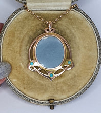 "Load image into Gallery viewer, 9ct Gold Art Nouveau Turquoise Picture Locket on 20"" Victorian Belcher Chain"