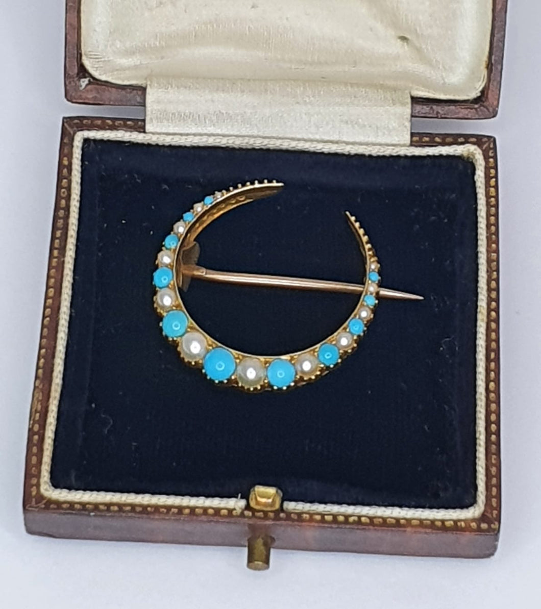 Gold Coloured Late-Victorian Turquoise & Seed Pearl Crescent Brooch
