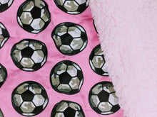 Load image into Gallery viewer, pink soccer baby blanket