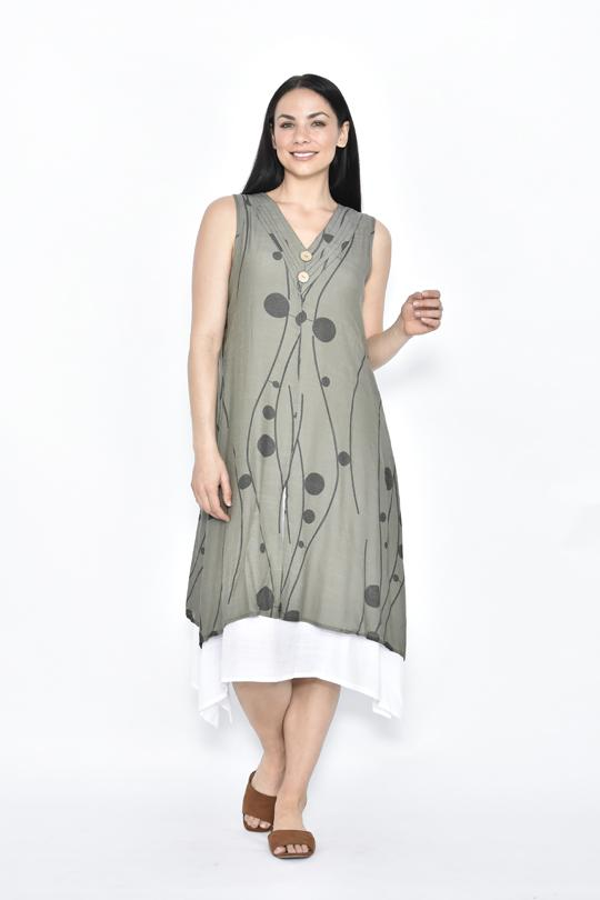 2 BUTTON LAYERED DRESS - 2 BUTTON LAYERED DRESS - Ebony Boutique NZ