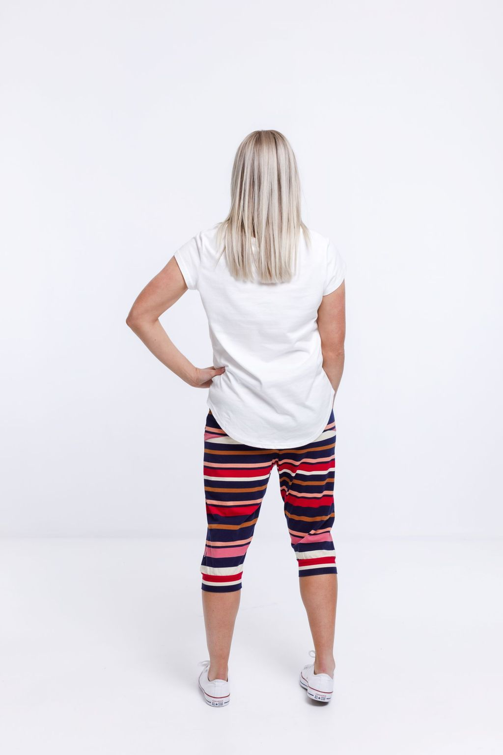 3/4 APARTMENT PANT AUTUMN STRIPE PRINT - 3/4 APARTMENT PANT AUTUMN STRIPE PRINT - Ebony Boutique NZ