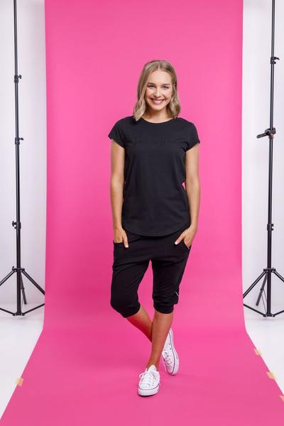 3/4 APARTMENT PANT BLACK WITH WHITE PRINT - 3/4 APARTMENT PANT BLACK WITH WHITE PRINT - Ebony Boutique NZ
