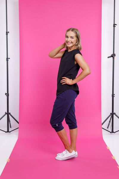 3/4 APARTMENT PANT EVENING BLUE WITH WHITE PRINT - 3/4 APARTMENT PANT EVENING BLUE WITH WHITE PRINT - Ebony Boutique NZ
