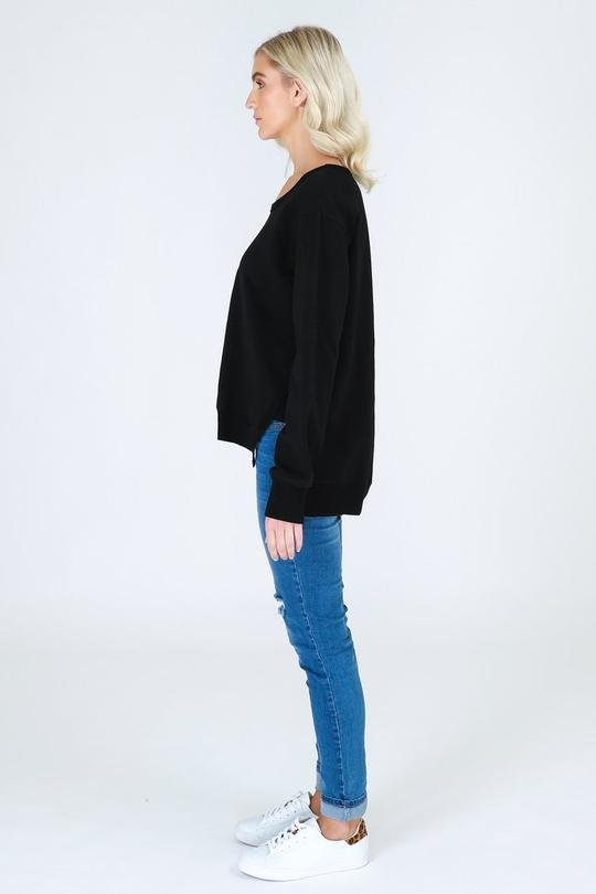3RD STORY ULVERSTONE SWEATER BLACK - 3RD STORY ULVERSTONE SWEATER BLACK - Ebony Boutique NZ