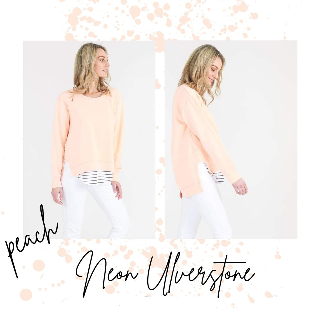3RD STORY ULVERSTONE SWEATER NEON PEACH - 3RD STORY ULVERSTONE SWEATER NEON PEACH - Ebony Boutique NZ