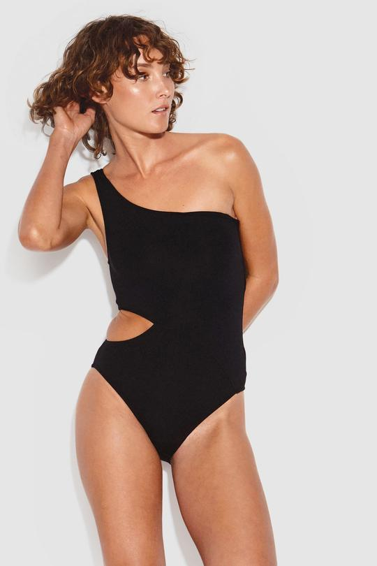 ACTIVE ONE SHOULDER MAILLOT BLACK - SF10795 058 - Ebony Boutique NZ