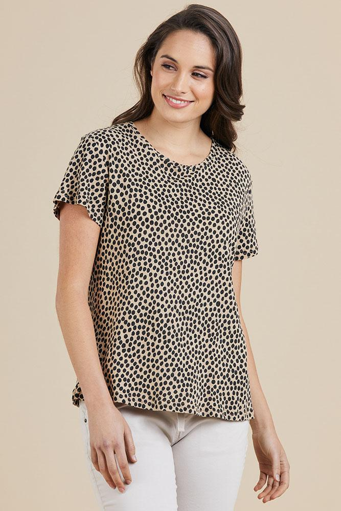 ANIMAL SPOT TEE - THR37565 - Ebony Boutique NZ
