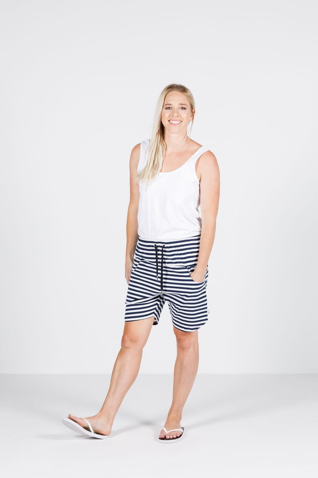 APARTMENT SHORTS NAVY WITH WHITE STRIPES - APARTMENT SHORTS NAVY WITH WHITE STRIPES - Ebony Boutique NZ