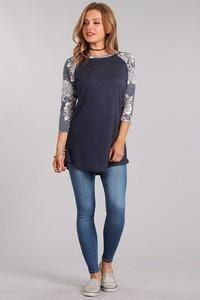 BASEBALL TEE FRENCH TERRY FLORAL SLEEVE PLAIN BODY - BASEBALL TEE FRENCH TERRY FLORAL SLEEVE PLAIN BODY - Ebony Boutique NZ