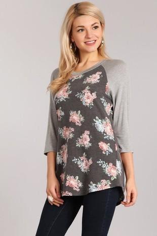 BASEBALL TEE FRENCH TERRY PLAIN SLEEVE FLORAL BODY - BASEBALL TEE FRENCH TERRY PLAIN SLEEVE FLORAL BODY - Ebony Boutique NZ