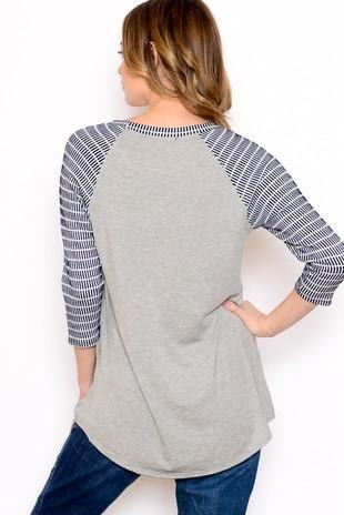 BASEBALL TEE TEXTURED SLEEVE PLAIN BODY - BASEBALL TEE TEXTURED SLEEVE PLAIN BODY - Ebony Boutique NZ