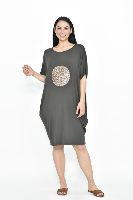 BIG CIRCLE SEQUIN JERSEY DRESS - No image set - Ebony Boutique NZ