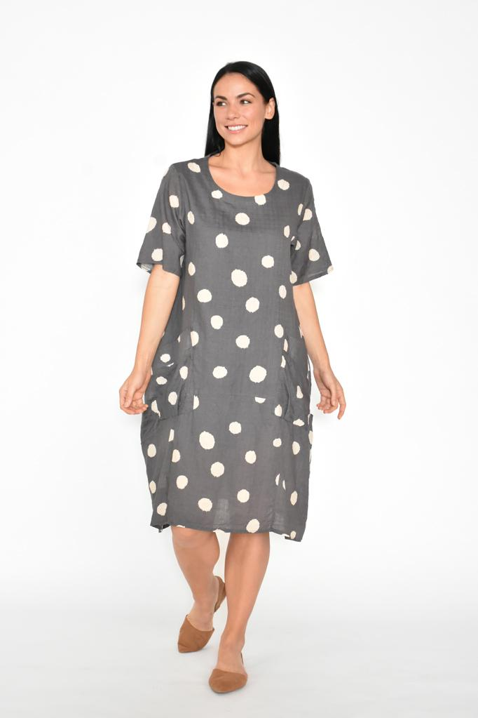 BIG POCKETS LAYERED SPOTS DRESS - No image set - Ebony Boutique NZ