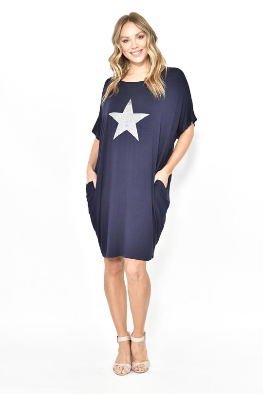 BIG STAR SEQUIN JERSEY DRESS - BIG STAR SEQUIN JERSEY DRESS - Ebony Boutique NZ