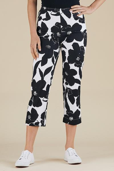 BLACK AND WHITE FLORAL PANT - BLACK AND WHITE FLORAL PANT - Ebony Boutique NZ