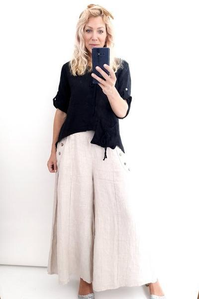 BLACK LINEN ROPE TOP - BLACK LINEN ROPE TOP - Ebony Boutique NZ