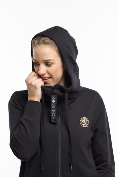BLACK ZIP UP HOODIE ROSE BADGE - No image set - Ebony Boutique NZ