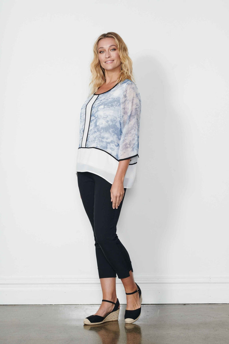 BLOUSE - PANELLED W/SLEEVES - Holmes and Fallon Panelled Blouse with Sleeves - Ebony Boutique NZ