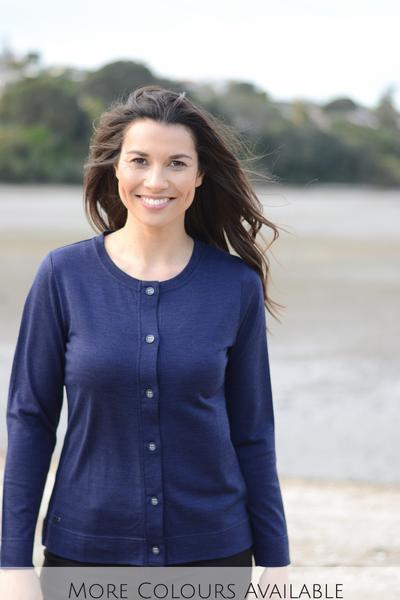 BTN CARDIGAN - EBAS501 shown in Navy - Ebony Boutique NZ