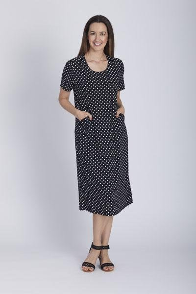 BUTTON JERSEY DRESS - BUTTON JERSEY DRESS - Ebony Boutique NZ