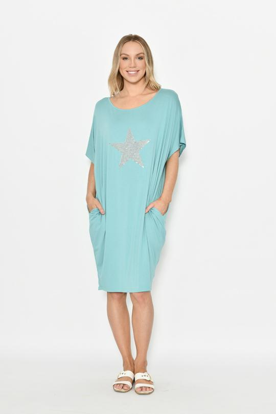 CALI & CO - BIG STAR SEQUIN JERSEY DRESS - EBONY BOUTIQUE - CALI & CO - BIG STAR SEQUIN JERSEY DRESS - EBONY BOUTIQUE - Ebony Boutique NZ