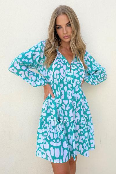 CALI MINI DRESS AQUA LEOPARD - CALI MINI DRESS AQUA LEOPARD - Ebony Boutique NZ